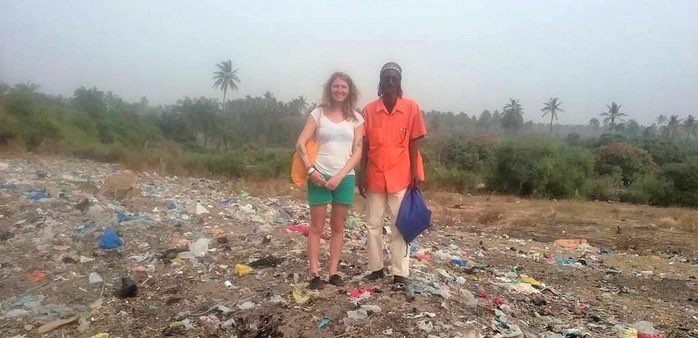 Charlotte Lamothe présentant son nouveau projet de traitement des déchats au Sénégal